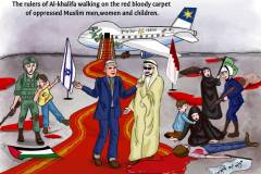 The rulers of Al-khalifa walking on the red bloody carpet of oppressed Muslim men,women and children